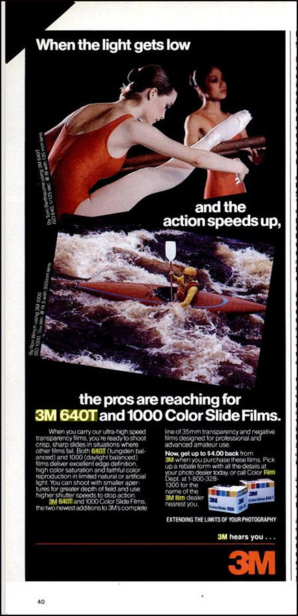 An early 1980s advertisement in Popular Photography magazine for 3M's 640T film.