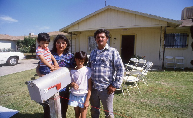 On May 23, 1988, six months after Mario Bravo died, I shot this photo of the bravo family as they prepared for a visit by presidential candidate Jesse Jackson. This is Tina and Ernesto with Yadira and Jorge. Tina and Ernesto are no longer married. Yadira, Tina and Jorge now live in Texas.