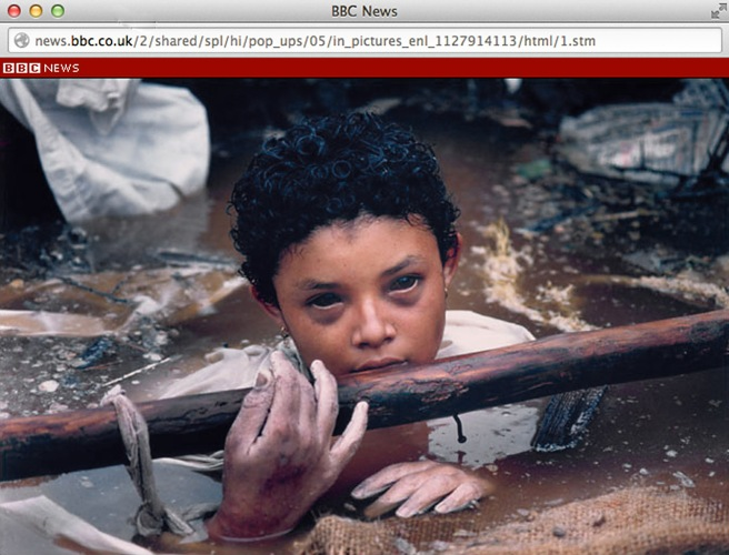 This is a frame grab of Fournier's World Press Photo winning picture of Omayra Sanchez.