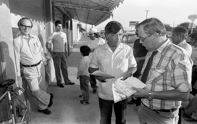 Cesar Chavez is interviewed by longtime Bakersfield Californian reporter Gordon Anderson.