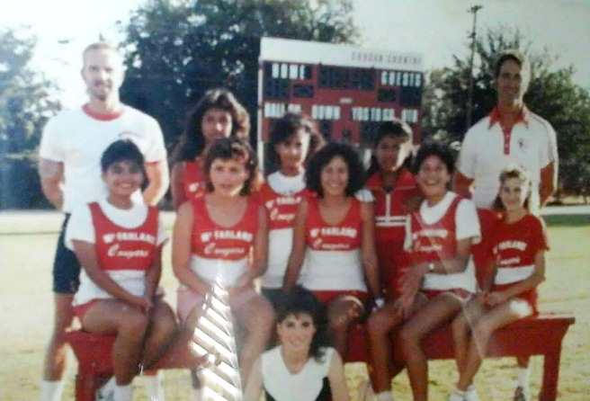 The McFarland girls cross country team in 1986. Sylvia Diaz, 16, is second from left, seated on the bench. Herlinda Gonzalez, 14, is seated on the bench second from the right, the girl with the big smile. This photo was provided by their teammate, Norma Takahashi, middle of the standing row.