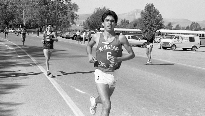 David Diaz runs in the Kern Invitational at Hart Park on November 1, 1986, five days after the accident that took the lives of Sylvia Diaz and Herlinda Gonzalez.