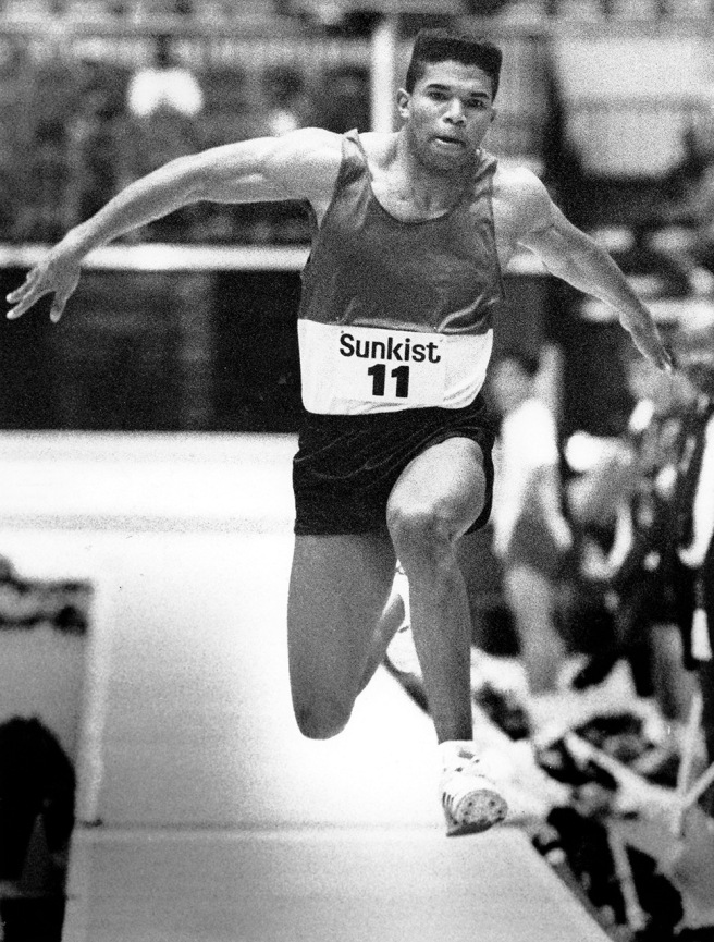 Two weeks before the start of is murder trial, Offord Rollins IV competes in the triple ump at a Sunkist Invitational meet in Los Angeles. Rollins had been considered a favorite to make the U.S. Olympic Track and Field team.