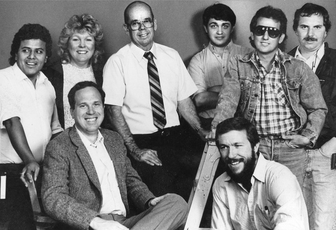 The 1980s Bakersfield Californian photo staff. Front (l-r) Alan Ferguson and Casey Christie. Back (l-r) Henry Barrios, Liz Snyder, chief photographer Jack Knight, lab technician Scott Rice, Felix Adamo and me.
