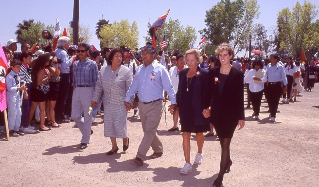Helen Chavez, Cesar's widow, her son, Paul, Ethel Kennedy and one of the Kennedy daughters (Rory, I think) march in the procession.