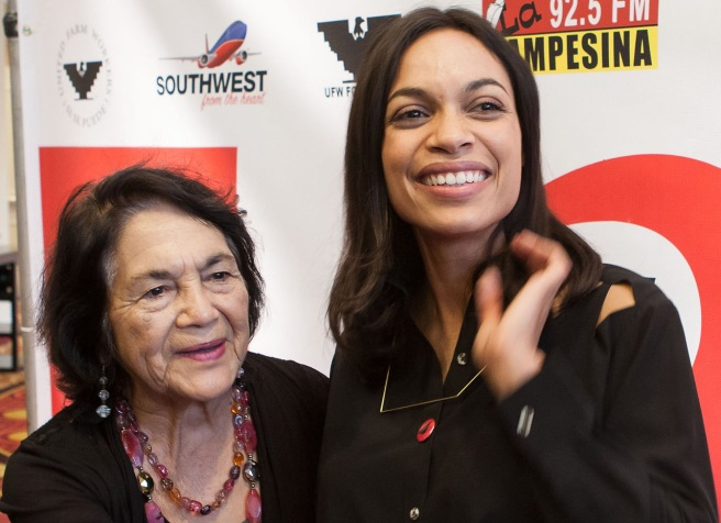 "I last photographed Dolores Huerta in April, 2014 with actress Rosario Dawson at the Bakersfield premier of the movie ""Cesar Chavez."""