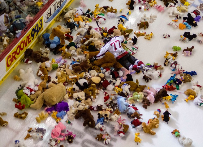 The annual Teddy bear Toss game is the team's most popular community event. I shot this at the 2014 game after Chase Schaber scored the goal that set off the tossing of thousands of stuffed toys onto the ice.