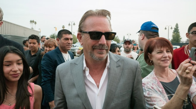 "Kevin Costner arrives at the Maya Cinemas for the Bakersfield sneak peak of the movie ""McFarland USA,"" which opens Friday."