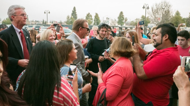 "It didn't take long before Kevin Costner was mobbed by fans outside the Maya Cinemas for the Bakersfield sneak peak of ""McFarland USA."""