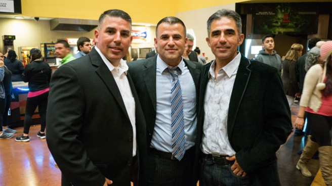 "The real life Diaz brothers (from left) Damacio, Danny and David, at the Bakersfield sneak peak of ""McFarland USA."""