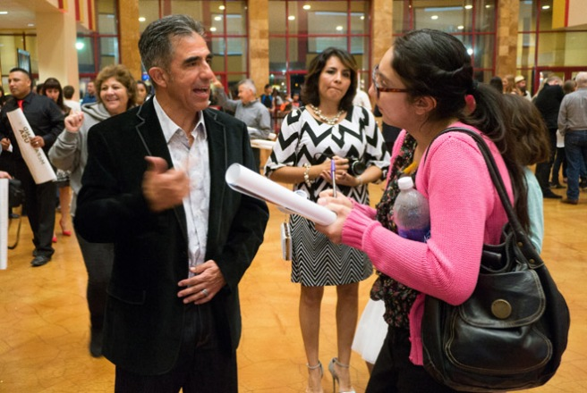 "Bakersfield College Renegade Rip editor Elizabeth Castillo interviews the real life David Diaz at the Bakersfield sneak peak of ""McFarland USA."""