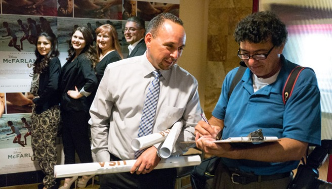 "The real life Johnny Sameniego is interviewed at the Bakersfield sneak peak of the new Disney film ""McFarland USA."""