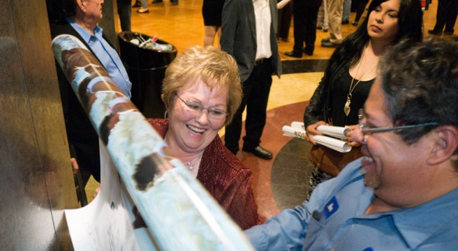 "The real life Cheryl White signs autographs at the Bakersfield sneak peak of ""McFarland USA."""