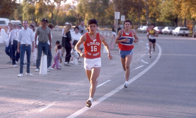 Thomas Valles runs in the 1986 CIF Southern Section championships at Hart Park in Bakersfield.
