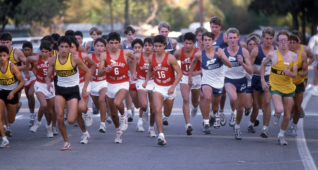 The McFarland runners take off at the start of the Southern Section championships at Hart Park in Bakersfield, California on November 13, 1986.