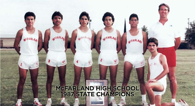 The real 1987 California state championship McFarland Cougars. Photo provided by Dolores Plata Rodriguez. From left: Thomas Valles, Victor Puentes, Damacio Diaz, Johnny Samaniego, Jose Cardenas, Danny Diaz and Coach Jim White. Luis Partida is not pictured.