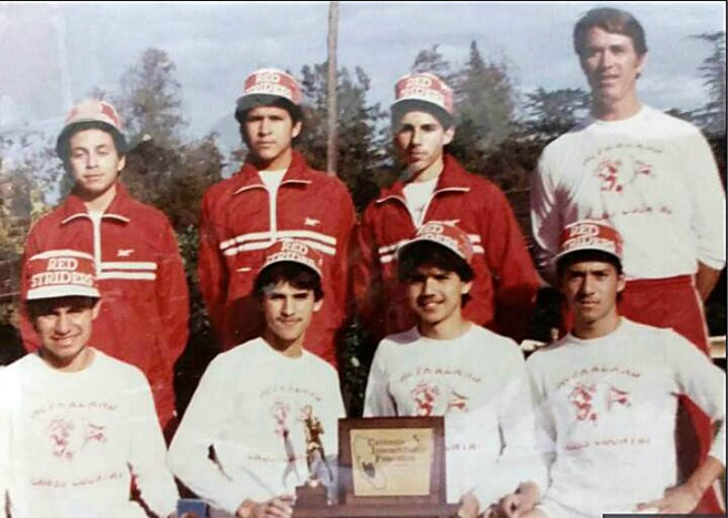 Here's another image of the 1987 California state champion McFarland Cougars, this one provided by Jim and Susy Beltran. Bottom, from left: Thomas Valles, Danny Diaz, Victor Puentes, Jose cardenas. Top, from left: Johnny Samaniego, Luis Partida, Damacio Diaz and Coach Jim White.