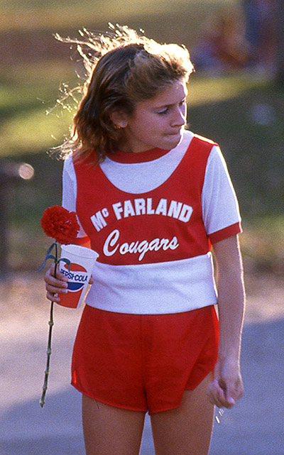 Hollie Wykoff at the 1986 CIF South Area meet, 17 days after the accident.