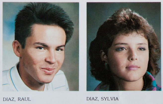 Siblings Sylvia and Raul Diaz's senior photos side by side in the 1986-87 McFarland High School yearbook. They would have graduated together.