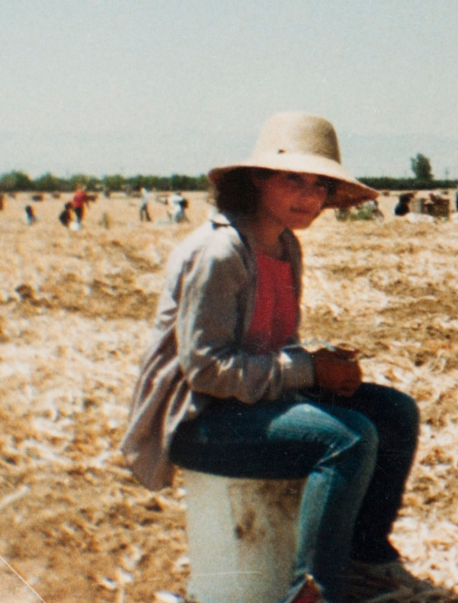 Sylvia Diaz at work in the agricultural fields of McFarland in 1985. A good student, she dreamed of continuing her education after high school and of visiting Hawaii. Photo courtesy Flora Diaz and Raul Diaz