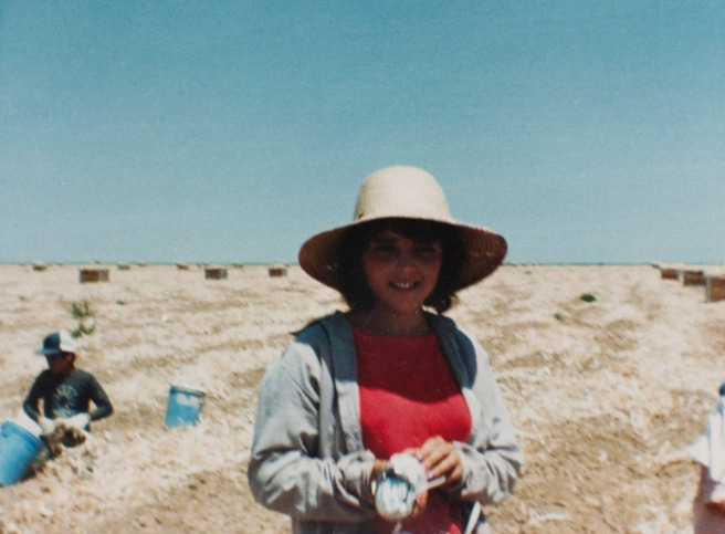 Sylvia Diaz at work in the agricultural fields of McFarland in 1985. Not unlike many McFarland kids, she worked in the fields to help support her family. Photo courtesy Flora Diaz and Raul Diaz