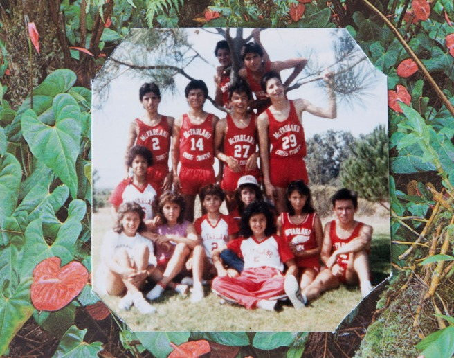 A team photo from the day of the beach trip in 1985 shot with her brother, Raul's camera, likely by a coach. Bottom row, from left: Herlinda Gonzalez, Delfina Herrera, Sylvia Diaz, Gabby Perez, Dolores Plata, Magda Saragoza, Norma Lopez and Raul Diaz. Middle row, from left: David diaz, Thomas Valles, Amador Ayon and Christian Rodriguez. Top, in tree: Luis Partida and Victor Puentes. Photo courtesy Flora Diaz and Raul Diaz