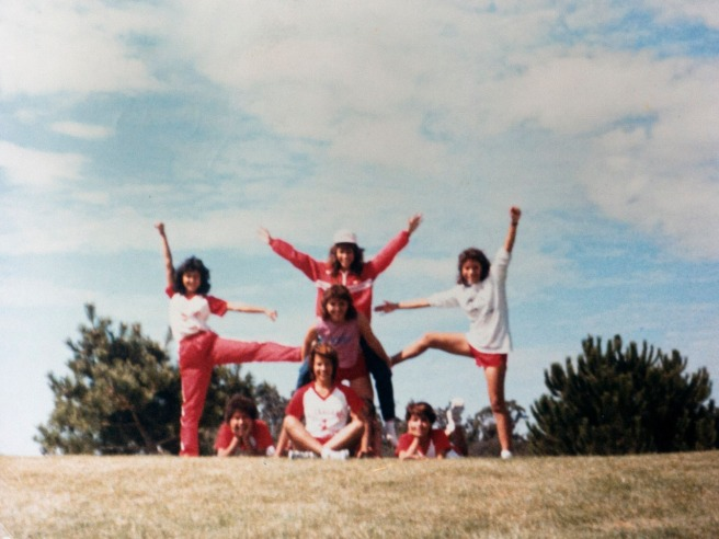 In this photo by Raul Diaz the day the teams went to the beach, the girls form a cheer pose. Sylvia Diaz is in the middle. Clockwise from top center is Dolores Plata, Herlinda Gonzalez, Gabby Perez, Alicia Herrera, Delfina Herrera and Magda Saragoza. Photo courtesy Flora Diaz and Raul Diaz