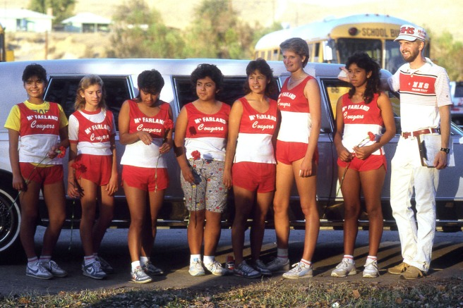 The McFarland girls arrived for the CIF Central Section South Area meet on November 13, 1986 in a limousine. It was a gesture by Hollie Wykoff's mom to help the girls feel better as they dealt with their grief after teammates Sylvia Diaz and Herlinda Gonzalez were killed in a practice accident two and one-half weeks earlier. From left: Eva Renteria, Hollie Wykoff, Delfina Herrera, Maria Herrera, Alicia Herrera, Tammy Carter, Norma Torres and coach Gary Pierson.