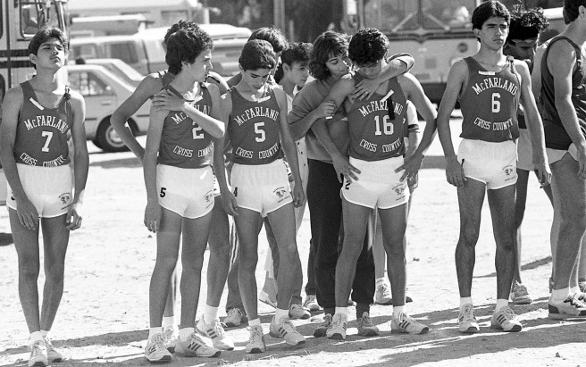 At the Kern Invitational on November 1, 1986, five days after the accident that took the lives of Herlinda Gonzalez and Sylvia Diaz, the boys team lines up for the start of their race. From left: Victor Puentes, Johnny Samaniego, Damacio Diaz, Thomas Valles and David Diaz.
