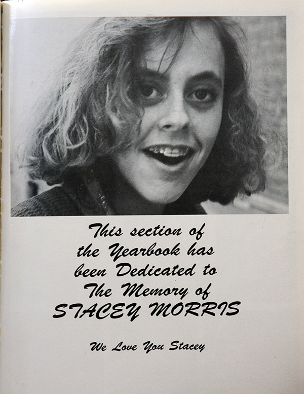 Stacey Morris died in a car accident.