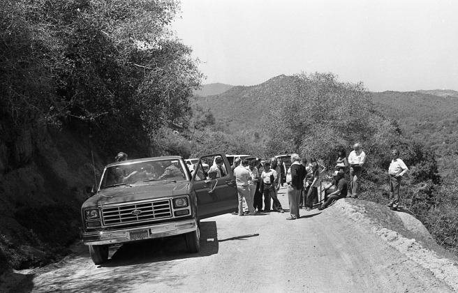 An overview of the scene where the William Robert Tyack trial moved to the murder location on April 20, 1982.