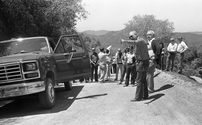 Kern County sheriff's technical investigator Tom Jones details the scene outside Glennville, California where two homosexual men, Sidney Moses Wooster, 26, and Jack Blankenship, 38, where shot and killed by Bakersfield businessman William Robert Tyack, 42. The judge, John Nairn, is to Jones' right.