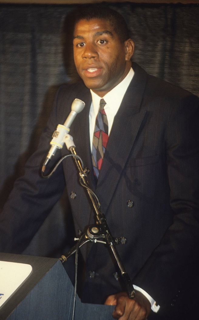 Magic Johnson delivers his shocking news to the world that he has contracted HIV and would be retiring from the Lakers on November 7, 1991. This is another of my images.