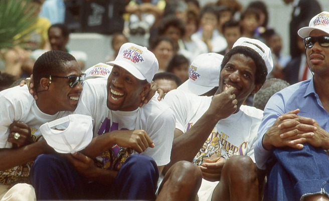 Magic Johnson, teammates and fans celebrated the Lakers 1988 NBA title in downtown Los Angeles.